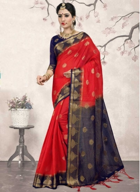 Jacquard Silk Navy Blue and Red Thread Work Traditional Saree