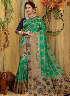Jacquard Silk Navy Blue and Sea Green Trendy Classic Saree
