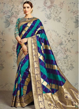 Jacquard Silk Navy Blue and Teal Beads Work Contemporary Style Saree