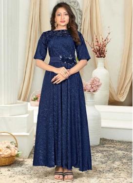 Jacquard Silk Resham Work Readymade Designer Gown