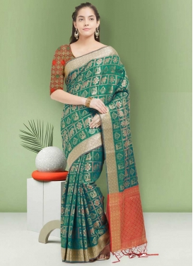 Jacquard Silk Sea Green and Tomato Thread Work Contemporary Style Saree