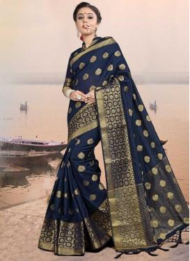 Jacquard Silk Thread Work Contemporary Saree