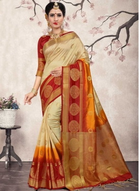 Jacquard Silk Thread Work Cream and Orange Contemporary Saree