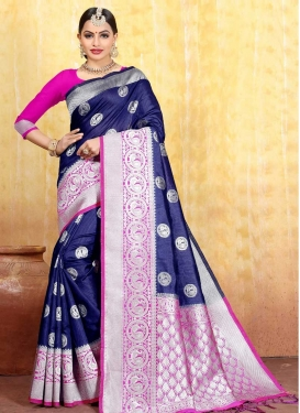 Jacquard Silk Thread Work Designer Contemporary Saree
