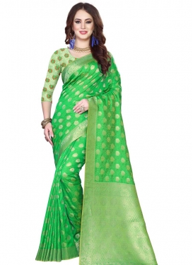Jacquard Silk Thread Work Green and Mint Green Classic Saree