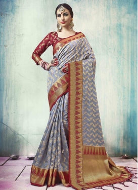 Jacquard Silk Thread Work Grey and Maroon Traditional Saree