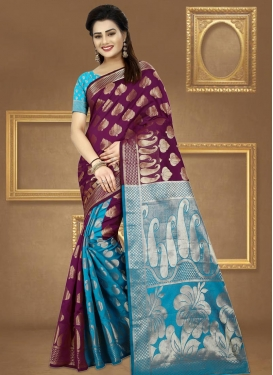 Jacquard Silk Thread Work Light Blue and Wine Traditional Saree