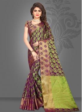 Jacquard Silk Thread Work Mint Green and Wine Trendy Saree