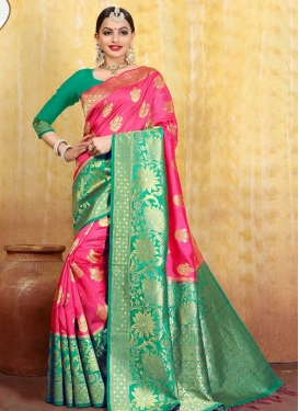 Jacquard Silk Thread Work Rose Pink and Sea Green Traditional Saree