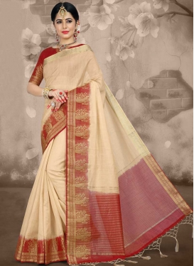 Jacquard Silk Thread Work Traditional Saree