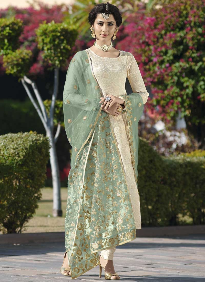 Jacquard Silk Thread Work Trendy Pakistani Salwar Suit