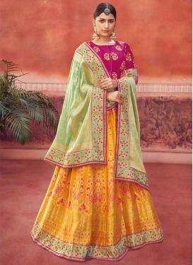 Jacquard Silk Trendy A Line Lehenga Choli
