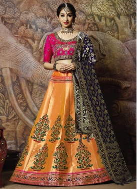 Jacquard Silk Trendy A Line Lehenga Choli For Ceremonial