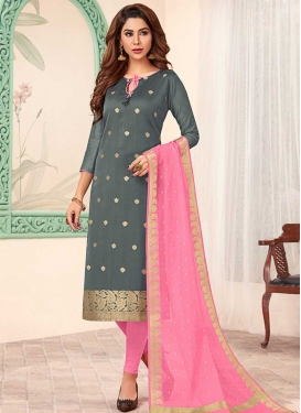 Jacquard Silk Trendy Churidar Salwar Kameez For Casual