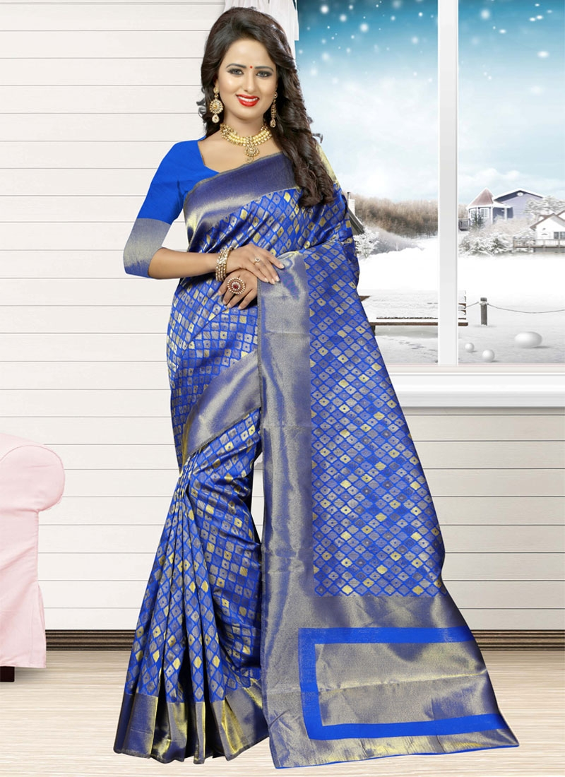 Jacquard Silk Trendy Classic Saree For Ceremonial