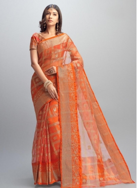 Jacquard Thread Work Traditional Saree