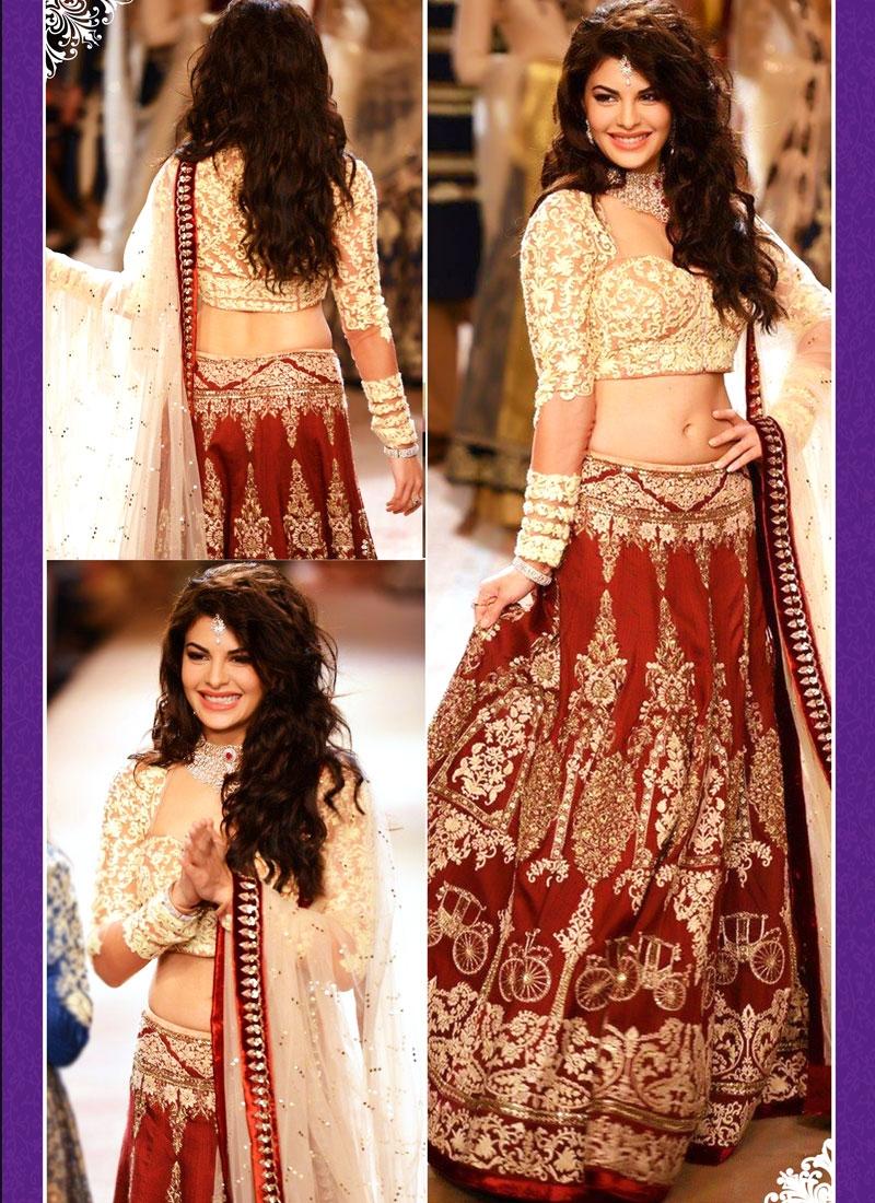 Jacqueline Fernandez Resham Work Wedding Lehenga Choli