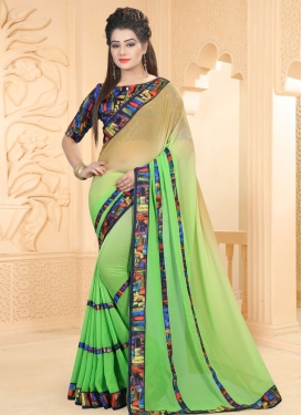 Jazzy  Abstract Print Work Faux Georgette Beige and Mint Green Trendy Saree For Casual