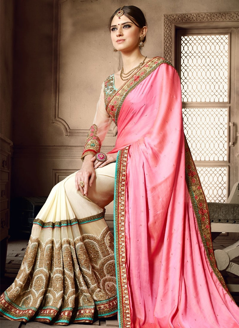 Jazzy Banarasi Silk Stone Work Half N Half Wedding Saree