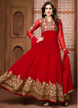 Jazzy Booti Work Floor Length Anarkali Suit