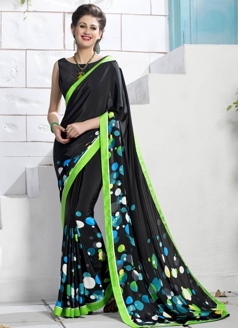 Jazzy Digital Print And Lace Work Casual Saree