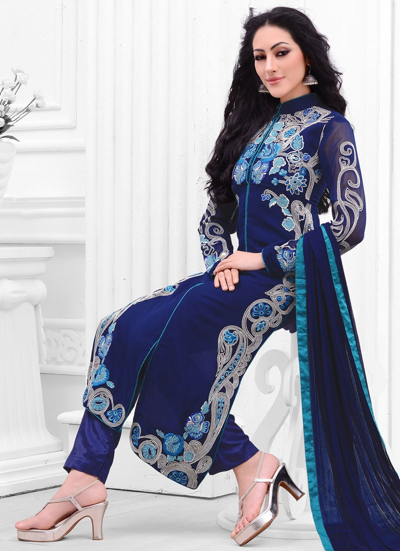 Jazzy Embroidery Work Pant Style Party Wear Suit