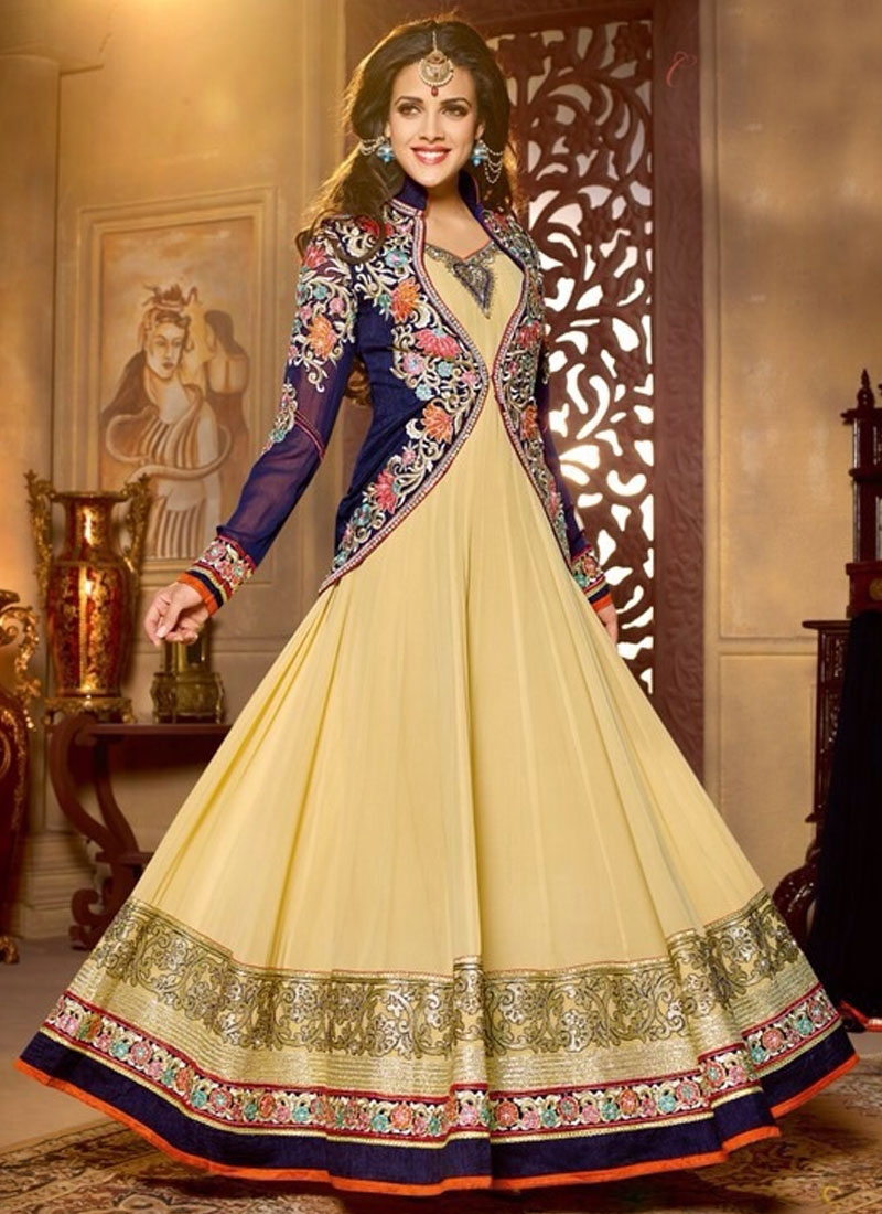 Jazzy Floral And Lace Work Jacket Style Anarkali Salwar Kameez