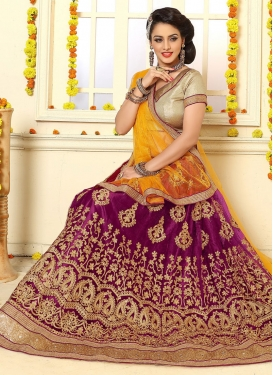 Jazzy Fuchsia and Mustard A - Line Lehenga For Festival