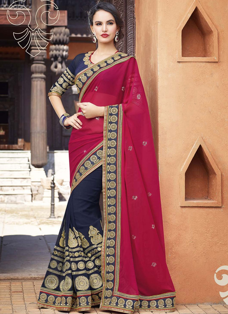 Jazzy Navy Blue Color Booti Work Wedding Saree