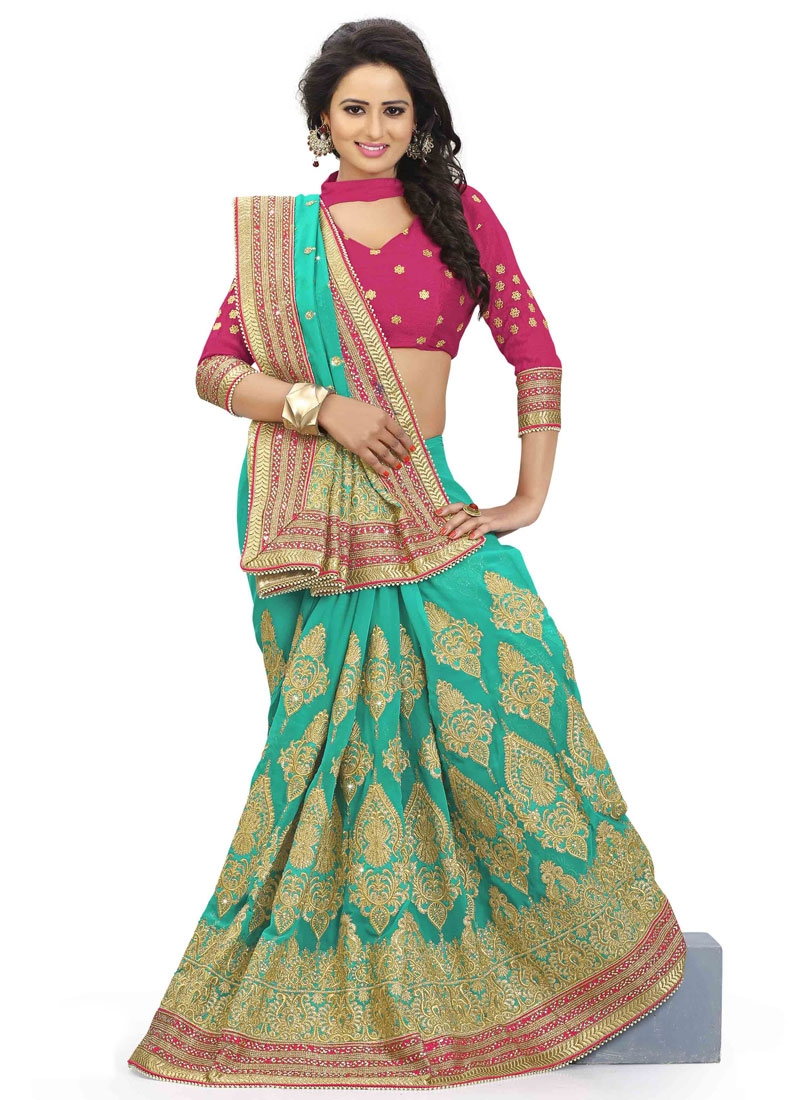 Jazzy Pure Georgette Stone Work Wedding Saree