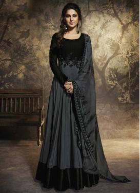 Jennifer Winget Black and Grey Floor Length Anarkali Salwar Suit For Ceremonial