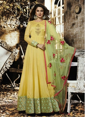Jennifer Winget Chanderi Silk Long Length Anarkali Salwar Suit For Festival