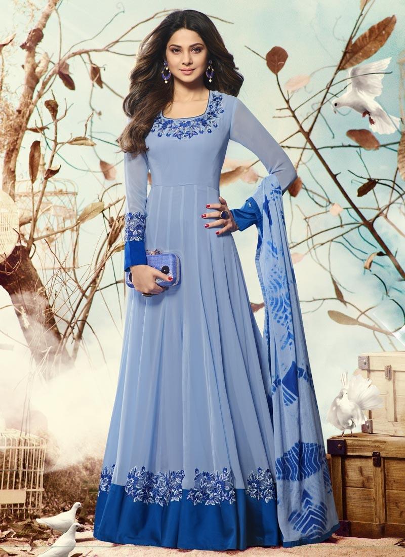 Shop Jennifer Winget Embroidered Work Floor Length Anarkali Salwar ...