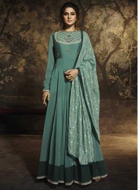 Jennifer Winget Embroidered Work Silk Georgette Long Length Designer Anarkali Suit