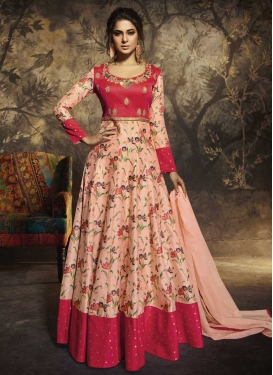 Jennifer Winget Peach and Rose Pink Chanderi Silk Floor Length Anarkali Salwar Suit