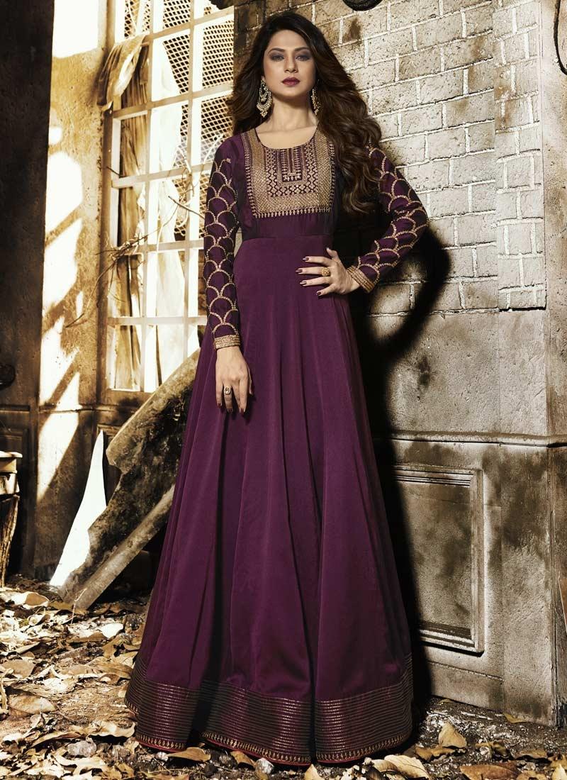 623815ac34 Jennifer Winget Silk Georgette Long Length Designer Anarkali Suit For Party