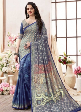 Kanjivaram Silk Blue and Grey Digital Print Work Half N Half Designer Saree