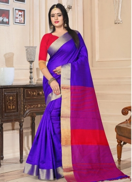 Kanjivaram Silk Blue and Red Contemporary Style Saree For Festival