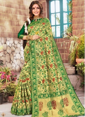 Kanjivaram Silk Gold and Green Classic Saree For Ceremonial