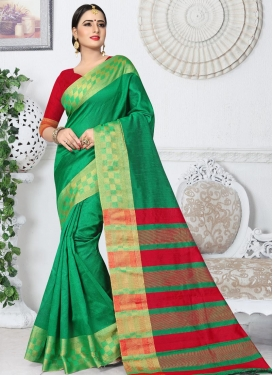 Kanjivaram Silk Green and Red Trendy Saree