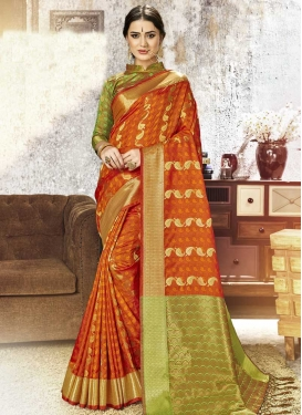 Kanjivaram Silk Mint Green and Orange Thread Work Designer Contemporary Style Saree