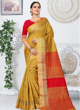 Kanjivaram Silk Mustard and Red Thread Work Classic Saree
