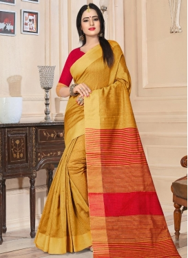 Kanjivaram Silk Mustard and Red Thread Work Trendy Saree