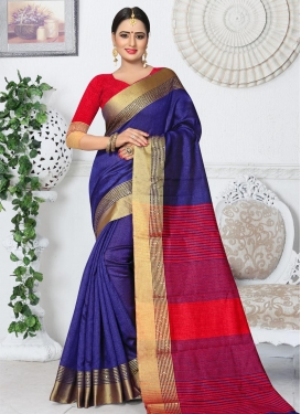Kanjivaram Silk Navy Blue and Red Trendy Saree