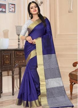 Kanjivaram Silk Navy Blue and Silver Color Thread Work Trendy Classic Saree