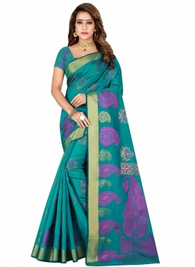 Kanjivaram Silk Thread Work Designer Contemporary Saree