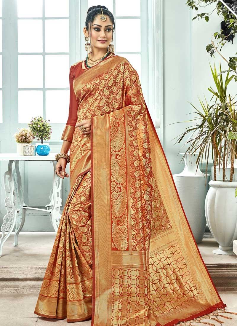 Kanjivaram Silk Thread Work Traditional Saree