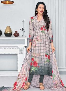 Karisma Kapoor Beige and Grey Cotton Pakistani Straight Salwar Kameez