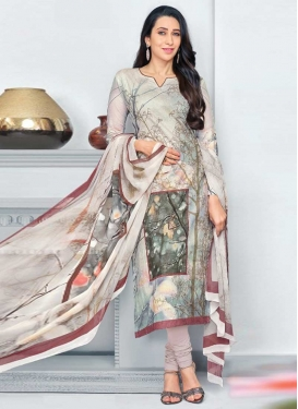 Karisma Kapoor Beige and Silver Color Cotton Pakistani Straight Salwar Kameez