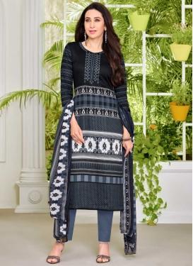 Karisma Kapoor Black and Grey Satin Pant Style Designer Salwar Kameez